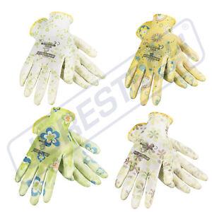 Garden Gardening Yard Gloves Nitrile Dipped Anti-Slip Knit Wrist 4 pairs NEW