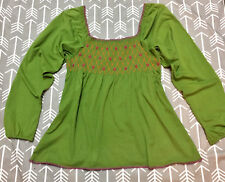 Ivy Jane Embroidery Hippie Peasant Top Gorgeous Smocked Sz Large Long Sleeve