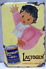 NESTLE'S LACTOGEN ADVERTISING SIGN VINTAGE PORCELAIN ENAMEL BABY POWDERED MILK