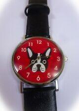 💗 Damen Armbanduhr Armband Uhr Hund französische Bulldogge schwarz rot - NEU