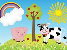 ART PRINT POSTER PAINTING DRAWING CARTOON FARM ANIMALS SUN PICTURE LFMP0974