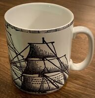"222 FIFTH ""Deep Sea"" Oversized 24oz Blue And White Nautical Ship Coffee Mug"