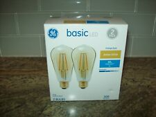 GE Basic Led 2 Pack Vintage Style Amber White 300 lumens Dimmable