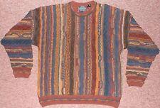 vintage 90s men's 3D abstract Sweater colorblock Biggie Cosby hip hop sz MEDIUM