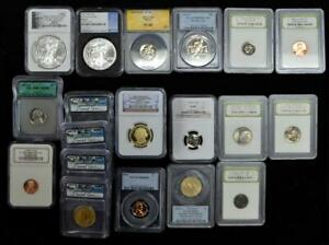 Lot of (22) 1943-2017 US Graded Coins inc. Silver Eagles & Other Denominations