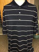 FootJoy FJ Men's Shirt Striped Golf Polo Size Large Polyester Spandex Navy Blue