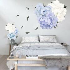 Blue Peony Rose Flowers Wall Sticker Art Nursery Decals Kids Room Home Decor