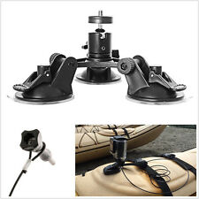 "Car Glass Windscreen Portable Triple Suction Cup Holder & 12"" Lanyard For Camera"