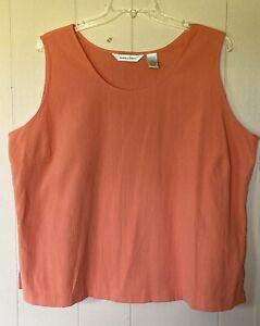 DRAPER'S & DAMON'S Women's Plus Size 3X Salmon Cotton Blend Tank Top