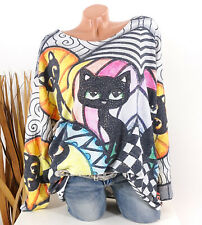 Pullover Damen Strickpullover Tunika Strass Oversize 40 42 44 grau Oberteil