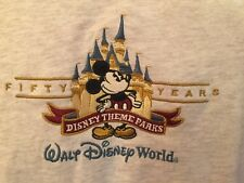 """Walt Disney World """"50 Years"""" T-Shirt Large Gray Mickey Mouse Sewn/Embroidered"""