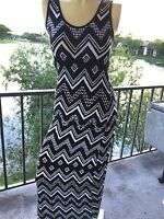 Dress Maxi  Laceup Back Black White Aztec Print Sleeveless Stretch by Love Tree
