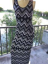 Dress Maxi  Laceup Back Black White Aztec Print Sleeveless Stretch by Love Tree