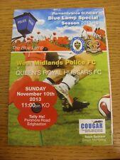10/11/2013 West Midlands Police v Queens Royal Hussars [Remembrance Sunday Game]
