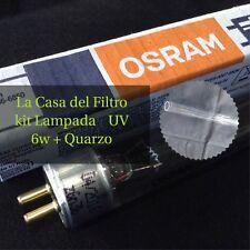 Kit Lampada UV 6w + Quarzo Per Depuratore Acqua Osmosi Sterlizzatore UV