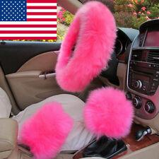USA Stock 3Pcs Soft Warm Sheepskin Long Wool Fuzzy Steering Wheel Cover # Pink