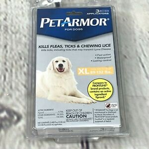 New Pet Armor for Dogs XL 89-132 lbs 3 Applicators Flea Tick Lice Treatment