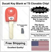 Ducati Aftermarket Double Sided Red Key Blank with T5 Transponder Chip Inside!
