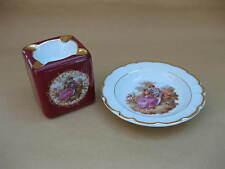 Two Limoges Porcelain Ashtrays ~ Round & Cube-Shaped ~ Fragonard Lovers