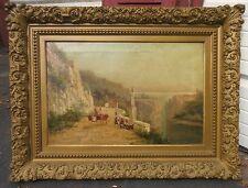 antique 1800's William Raymond Dommersen Dutch landscape canvas oil painting