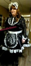 Custom Made Sissy Maid Dress in Bridal Satin with B/W apron trimmed in black