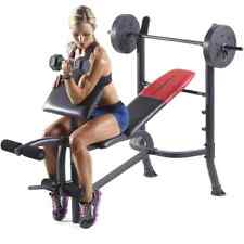 Weider Pro 265 Standard Bench with 80 lb Vinyl Weight Set Home Gym