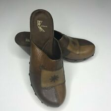 White Mountain brown patchwork clog leather upper size 7M