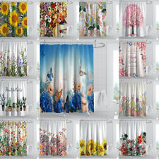 Flower Shower Curtain Spring Season Floral Leaves Fabric Waterproof Bath Decor