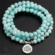 6mm Blue Jade 108 Beads Lotus Pendant Bracelet Meditation Handmade Wrist