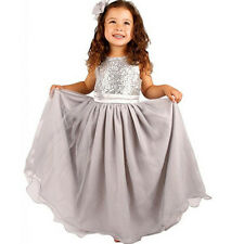 Kids Baby Girls Flower Lace Sequins Wedding Bridesmaid Prom Party Princess Dress