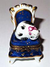 LIMOGES BOX ~ PARRY-VIEILLE ~ CAT ON BOUDOIR CHAIR ~ KITTEN ~ KITTY ~ PEINT MAIN