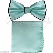 Wedding Black Turquoise Pre-tied Bow tie and Pocket Square Hankie Two Layers