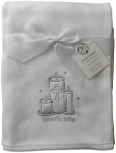 Bless This Baby Boy Girl Christening Blanket White Wrap Baptism Candles Shawl