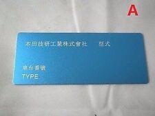 JDM Honda civic EK9 EG6 type R SiR vin tag plate spoon mugen (engrave) badge ID