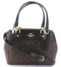 NEW COACH (F26139) SIGNATURE MINI BROOKE CARRYALL BROWN BLACK HANDBAG PURSE