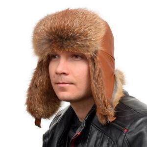 Genuine Men's Red Fox Fur Ushanka Hat I Natural Real Fur Warm Winter Cap Ski FOX