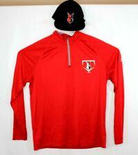 Under Armor Indianapolis Indians Red Heat Gear 1/4 Zip Pullover Mens XL + Cap