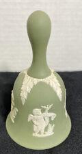 """Wedgwood Jasperware """"Cupids Four Seasons"""" Bell With Handle-Sage Green"""