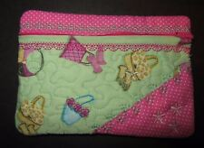 NEW HANDMADE PINK & GREEN ACCESSORY THEMED COSMETIC MAKEUP BAG ~ ZIPPER POUCH