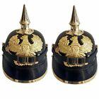 SET OF 2 WWI Wearable Helmet Brass Leather German Prussian Pickelhaube Helmet