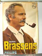 GEORGES BRASSENS AFFICHE ORIGINALE TRES RARE (1966) PHILIPS