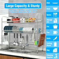 2/3 Tier Dish Drying Rack Over Sink Kitchen Cutlery Drainer Holder Space Saver