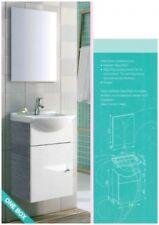 Gäste WC Set, 3-teilig, Grau/Weiß, Waschtisch, Waschtischunterschrank, Spiegel