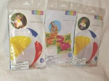 "2x INTEX 20"" Glossy Panel Colorful Beach Ball&Dinosaur Arm Bands Inflatable Pool"