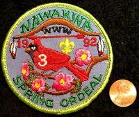 OA NAWAKWA LODGE 3 ROBERT E LEE COUNCIL VA SCOUT 1992 SPRING ORDEAL POCKET PATCH