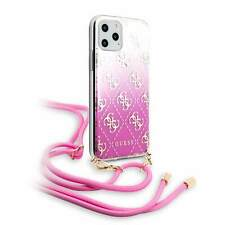 Genuine Guess 4G Silicone Pink Transparent Case for iPhone 11 Pro with Strap