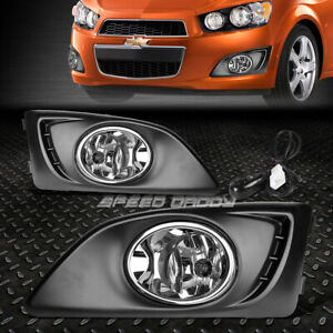 FOR 11-15 CHEVY AVEO SONIC FRONT BUMPER DRIVING FOG LIGHT LAMPS W/BEZEL+SWITCH