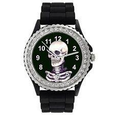 Skull Strass Damenuhr mit Silikonarmband CSG035