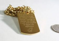 SERENITY PRAYER  NECKLACE  DOG TAG STAINLESS STEEL COLOR GOLD