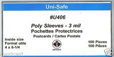 """Poly Cover Holders Fit 4"""" x 6-1/4"""" Postcards / Covers, Pkg of 100 - Unisafe U406"""
